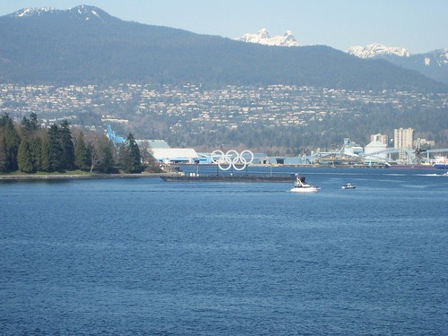 Olympic rings in Vancouver Harbour