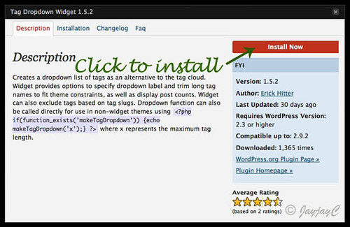 Screen shot on how to install WordPress Tag Dropdown Widget plugin