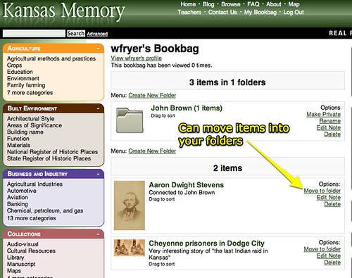 Can move items into folders on Kansas Memory
