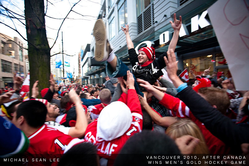 fans celebrate on robson street after mens win gold medal hockey game at the vancouver 2010 olympics