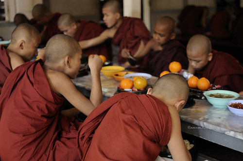 burma-amarapura-monks-eating by Ania Blazejewska.