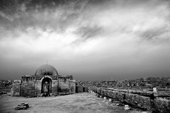 The Umayyad Palace, Amman (... Arjun) Tags: sky blackandwhite bw 15fav philadelphia monochrome clouds 1025fav 510fav iso100 blackwhite ancient ruins asia downtown cityscape view citadel hill wide amman middleeast dramatic kingdom wideangle monotone 100v10f jordan textures f90 2550fav 24mm 2010 qasr ruleofthirds leadinglines hashemite  canonef24105mmf4lis umayyadpalace bluelist   canoneos5dmarkii canon5dmarkii jabalalqala gettyvacation2010