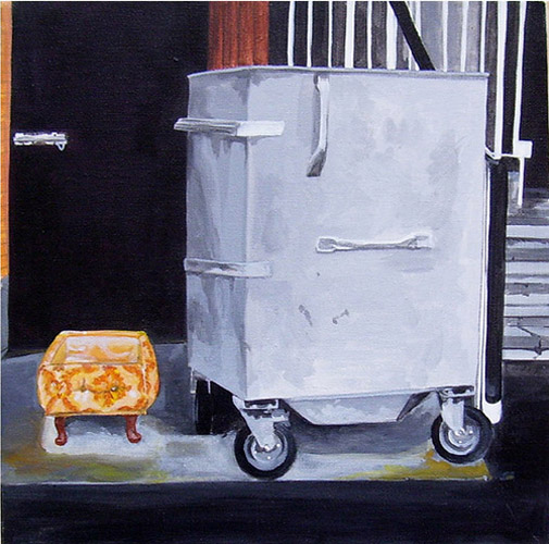 Poof and Bin, Acrylic on Canvas, 31cm x 31cm by Robin Clare