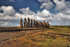 Easter Island Ahu Tongariki (20.000+ views!) (msdstefan) Tags: pictures ocean chile trip travel blue vacation sky panorama sculpture white holiday beach rock stone clouds easter landscape island polynesia coast sand pacific pics urlaub wolken nikond50 best