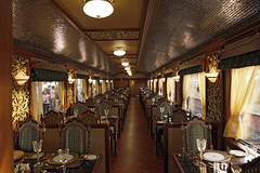 Maharajas' Express Luxury Train (India) - restaurant (Train Chartering & Private Rail Cars) Tags: privatetrain privaterailcar chartertrain traincharter privatecharter trainchartering privatecarriage simonpielow luxurytravel luxurytrain luxurycharter indianluxurytrain maharajasexpress luxurytravelclub