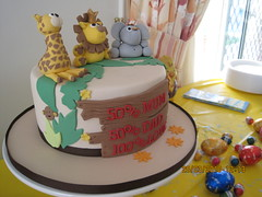 Baby shower safari cake (CakeCreationsByHuma) Tags: birthday baby elephant boys cake shower cupcakes 3d lion safari figurines jungle rhino giraffe 2d toppers fondant