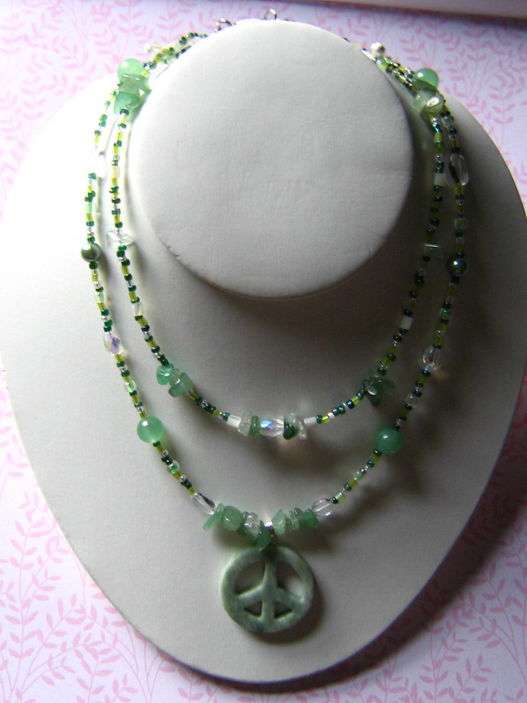 Serpentine Double stranded PEACE necklace