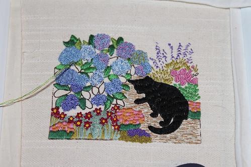 Cat by the Hydrangea Bush - Progress 3-19-10