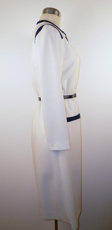 Side - Cream Knit Dress with Navy Trim