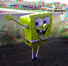 SpongeBob (Anaglyph 3D) (patrick.swinnea) Tags: statue aquarium stereoscopic stereophoto 3d colorado anaglyph denver spongebobsquarepants nickelodeon