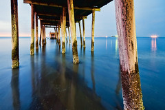 Chesapeake Pier (Sky Noir) Tags: ocean blue sunset sea sky beach bay virginia pier fishing sand nikon surf noir shoreline sigma shore bluehour chesapeake oceanblue sandybeach blueocean lynnhaven skynoir bybilldickinsonskynoircom