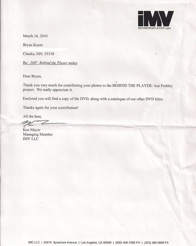 03/16/2010 - Letter from IMV RE: Ace Frehley: Behind The Player DVD Photo Contributions