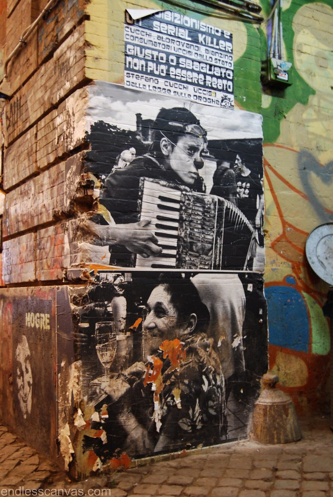 Wheat Paste Photography Street Art in Rome Italy.