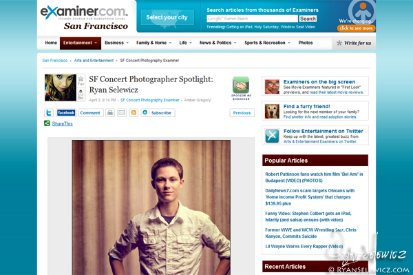 Examiner.com - SF Concert Photographer Spotlight