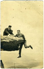 Real Photo Postcard: 1917 Bill & Wisdow [?] O'Neal (mrwaterslide) Tags: old boys rock vintage found antique tennessee space tourist boulder tourists oldphoto hanging vernacular midair suspended lookoutmountain dangling hang overhang