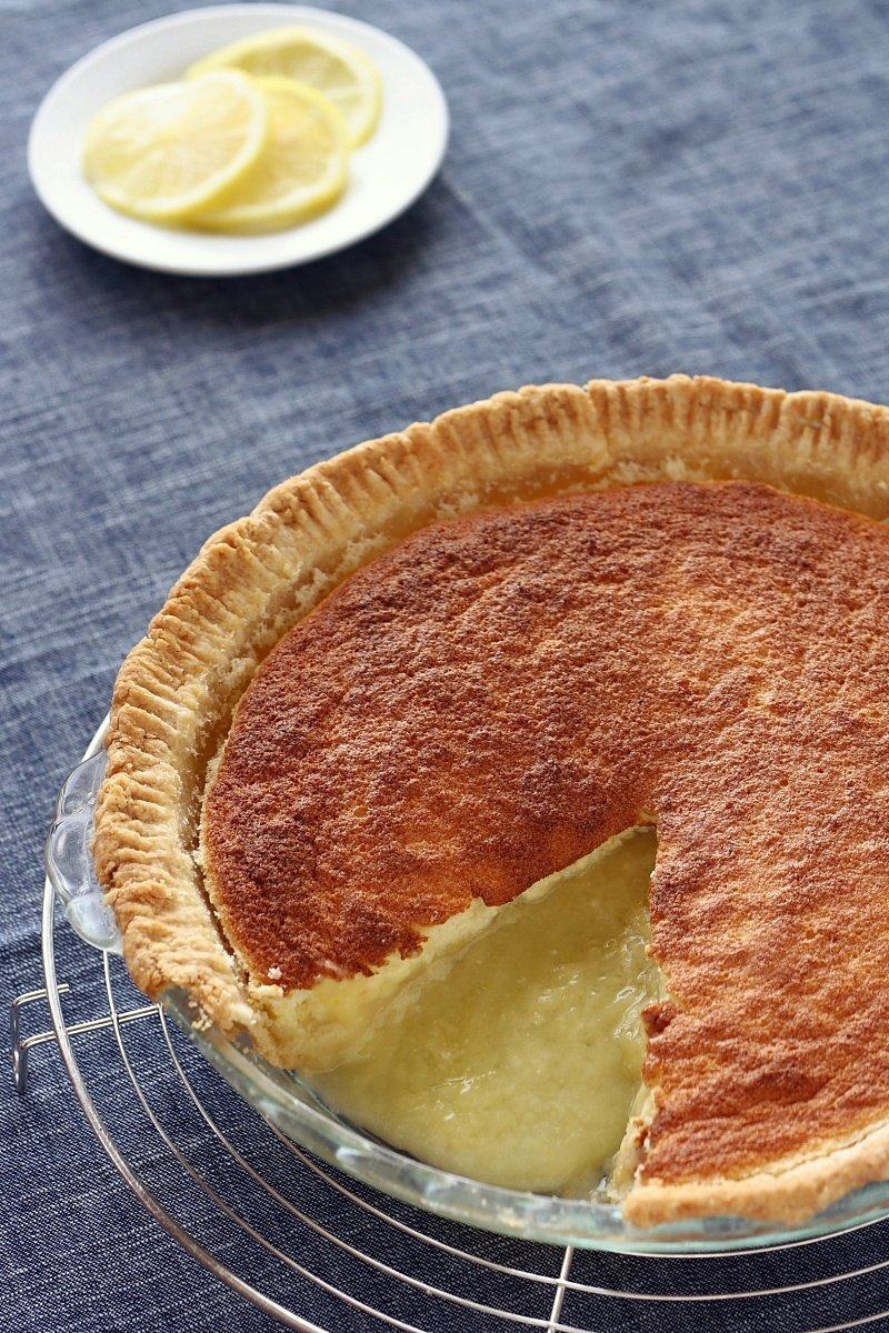 Lemon Sponge Pie Sliced - slightly less processing