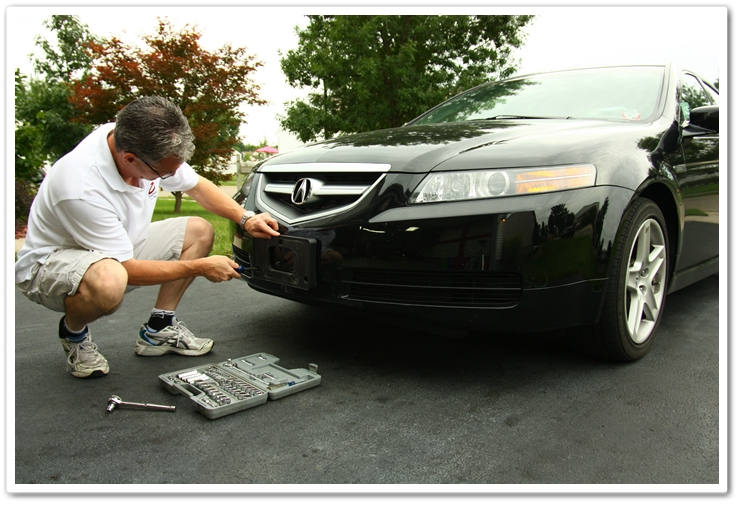 Removing license plate from Acura