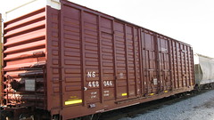 Norfolk Southern waffle sided Hi Cube box car with minimal NS reporting marks. Chicago Illinois. Early April 2010.