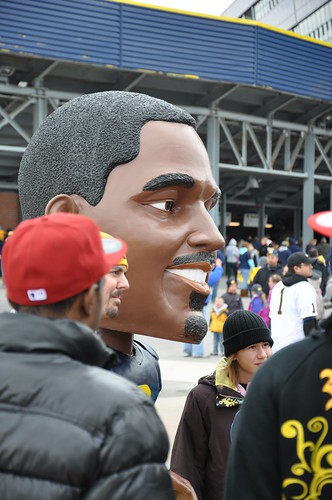 Charles Woodson Bobblehead at the Spring Game