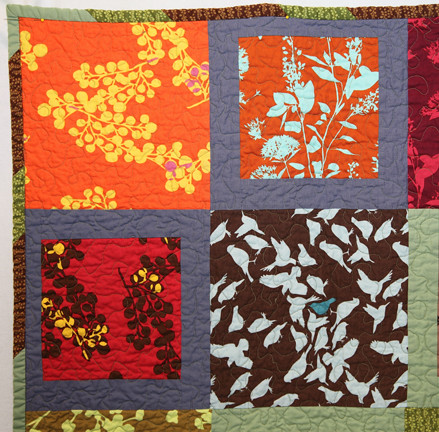 Closeup of the wedding quilt