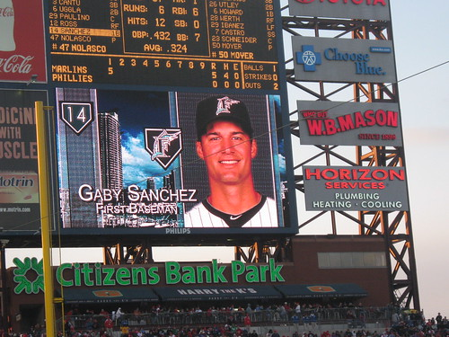 Gaby Sanchez on the Citizens Bank Park scoreboard