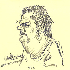 quick mini sketch of caricaturist Mike Roate