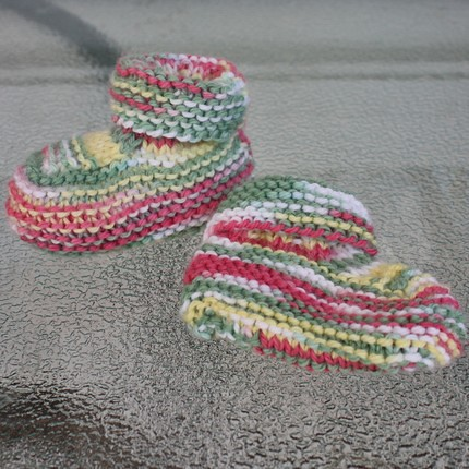 Handmade knit baby booties size newborn to 3 month
