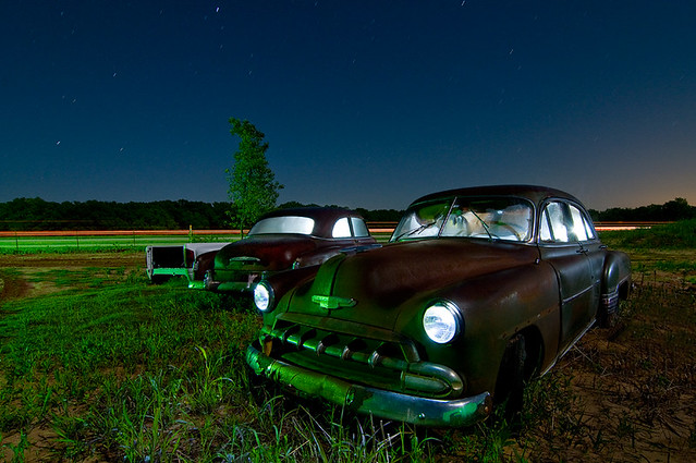 cars chevrolet abandoned night chevy junkyard