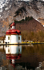 St. Bartholomew's Church, Berchtesgaden (Sergiu Bacioiu) Tags: b lake snow alps reflection church germany landscape bayern bavaria berchtesgaden catholic outdoor chapel alpine alpen baroque pilgrimage deu hirschau nationalparkberchtesgaden historicalheritage