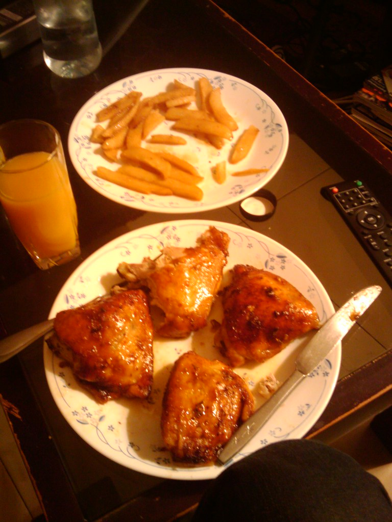 Chicken Thighs and Chips