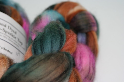 Frabjous Fibers Hand Dyed Merino-Sparkle Top in Cathedral