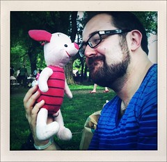 "52 Weeks of ""The One I Love"" (33): Piglet Love (Sion+Anton) Tags: bear nyc newyorkcity trees portrait people grass portraits centralpark sion allrightsreserved cherryhill fauxpolaroid sionfullana iphoneography antonkawasaki shakeitphotoapp iphone3gs beardedgaymalewithglasses pigletlove alookoflove awomanslegsandfeet 52weeksoftheoneilove33"