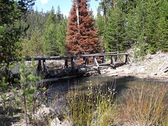 Bridge on the beginning of the North Fork John Day River Trail that penetrates into the wilderness area for 23 miles.