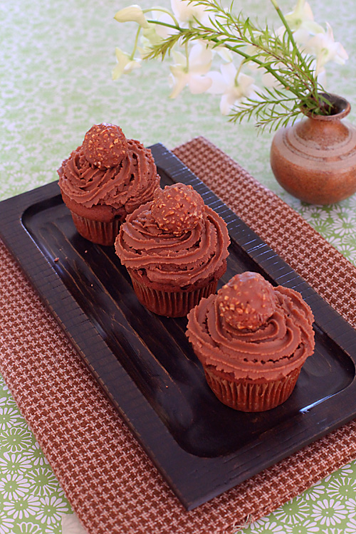 Eggless Chocolate Cream Cupcakes With Ferrero Rocher Nutella Icing