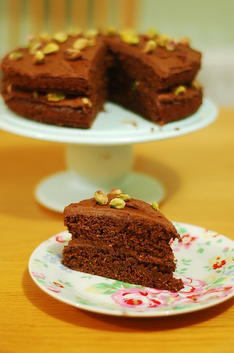Chocolate, courgette and pistachio cake