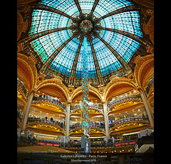 Galeries Lafayette - Paris, France (Vertorama) (farbspiel) Tags: travel blue red vacation holiday paris colour green rot tourism colors yellow photography gold golden nikon frankreich colorful ledefrance colours stitch interior perspective wideangle artnouveau gelb journey shoppingmall handheld stitching colourful grn tradition blau nikkor galerieslafayette stitched fra farben jugendstil workflow glassdome 18200mm d90 panoramastudio farbenpracht vertorama topazadjust topazdenoise klausherrmann topazsoftware hdrworkflow topazphotoshopbundle nikonafsdxnikkor18200mm13556gedvr