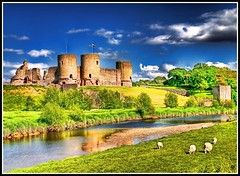 Rhuddlan Castle,North Wales (Hazeldon73- catching up !) Tags: castle wales river landscape sheep north welsh hdr clwyd rhuddlancastle