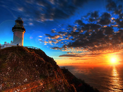 first light at cape byron (paul bica) Tags: ocean morning light sky sun lighthouse tourism nature beautiful clouds sunrise outdoors dawn daylight e