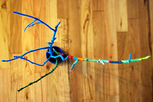 yarn branch art piece thing