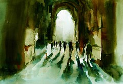 WITHOUT AN END OR A BEGINNING (Behzad Bagheri) Tags: city light people urban sun art architecture watercolor painting cityscape aquarelle watercolour expressive acuarela isfahan acquerello watercolormaster behzadbagheri