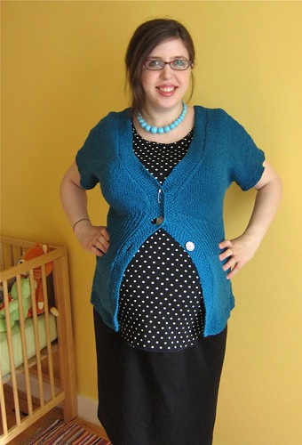 Teal Flutter-Sleeve Cardigan--should I add a third button?