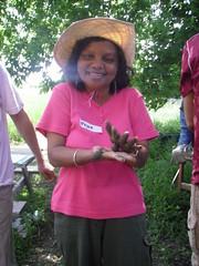 Joyce Ramnarine, a test cropper at McVean, enjoying the ribbon test!