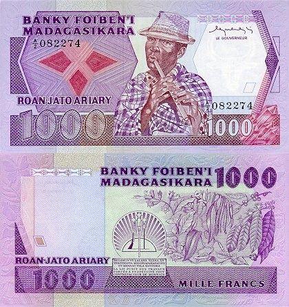 1000 Frankov Madagaskar 1983-87