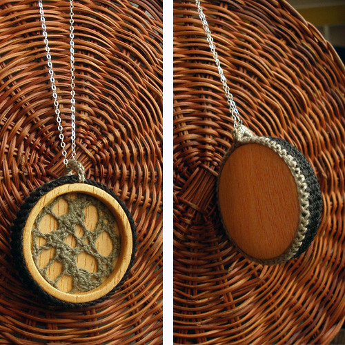 Olive Crochet Wood Pendant