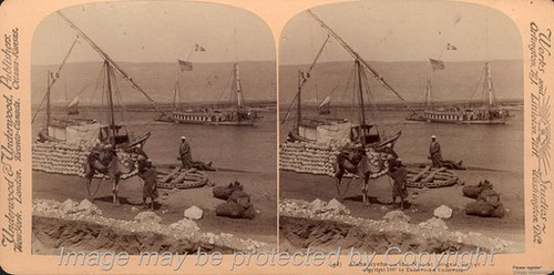 Dahibiyehs on the Nile, Underwood & Underwood Stereograph Card