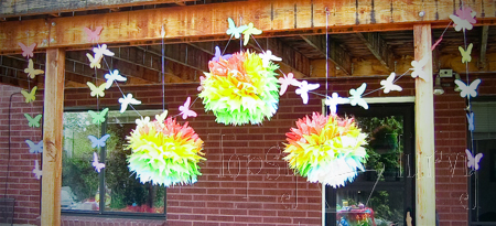 birthday party garland rainbow butterflies tissue pom poms finished