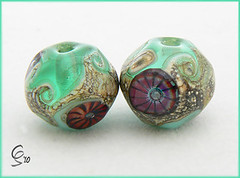 Pacific Rockpools - Lampwork Glass Bead Pair (Photography by Clare Scott) Tags: glass scott beads clare lampwork sra rockpools murrini fhfteam