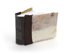 Muslin Collage Book (Leah Virsik) Tags: collage book handmade stitching bookbinding paperclip muslin handbound runningstitch leahvirsik