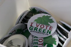 Green Party at Hats Off Day - June 5th, 2010 -  I Vote Green buttons (yumiang) Tags: hastings greenparty carriemclaren ilovegreen burnabyheights hatsoffday greenpartycanada greenpartybc