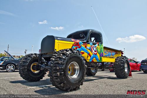 OC Car & Truck Show Superhero Truck w/ Airplane contrail